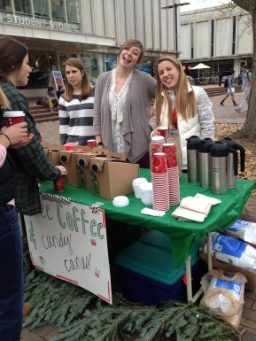 Cru students handed out free candy canes and coffee and offered to pray for stressed out students
